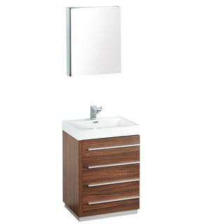 Fresca Livello 24-in Walnut Bathroom Vanity with Medicine Cabinet