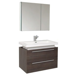 Fresca Medio Grey Oak Bathroom Vanity with Medicine Cabinet