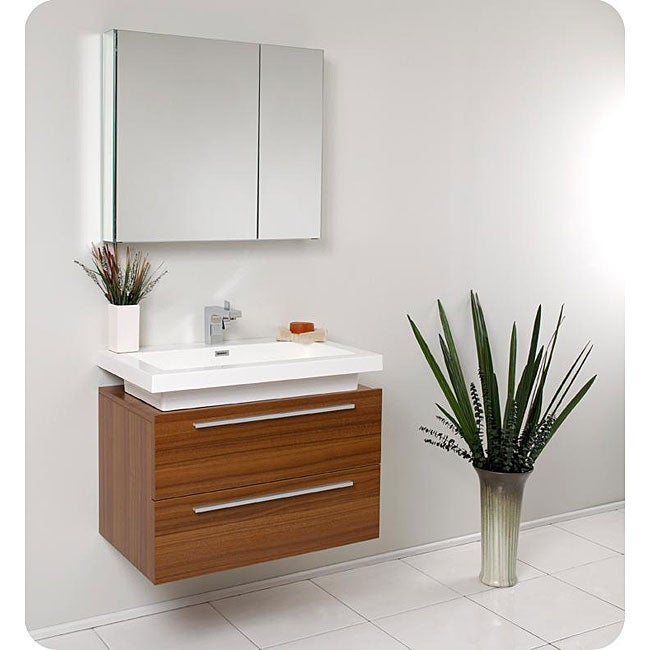 overstock bathroom vanities cabinets fresca medio teak bathroom vanity with medicine cabinet 19838