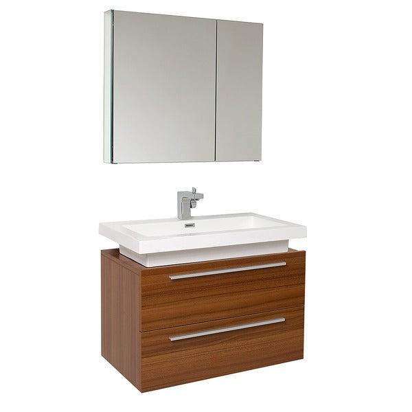 Fresca Medio Teak Bathroom Vanity With Medicine Cabinet