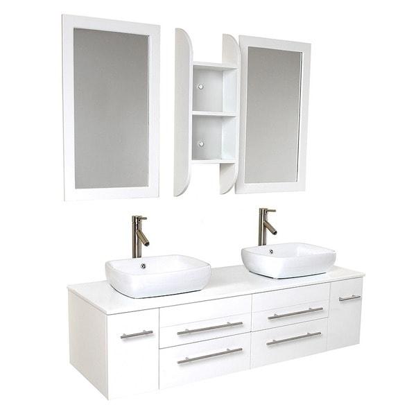 Shop Fresca Bellezza White Double Vessel Sink Bathroom