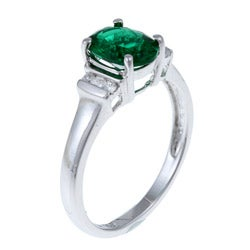 Sterling Essentials Sterling Silver Green Cubic Zirconia Cocktail Ring - Thumbnail 1