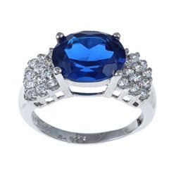 Sterling Essentials Sterling Silver Blue Cubic Zirconia Cocktail Ring