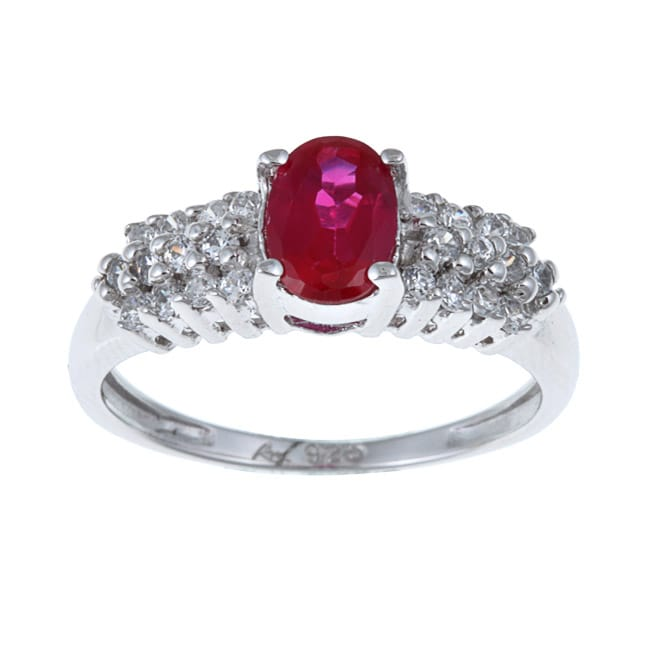 Sterling Essentials Sterling Silver Red Cubic Zirconia Cocktail Ring