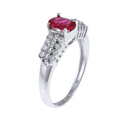 Sterling Essentials Sterling Silver Red Cubic Zirconia Cocktail Ring - Thumbnail 1