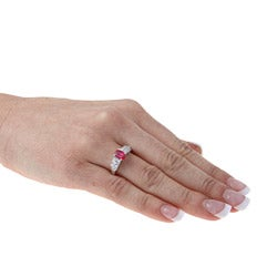 Sterling Essentials Sterling Silver Red Cubic Zirconia Cocktail Ring - Thumbnail 2