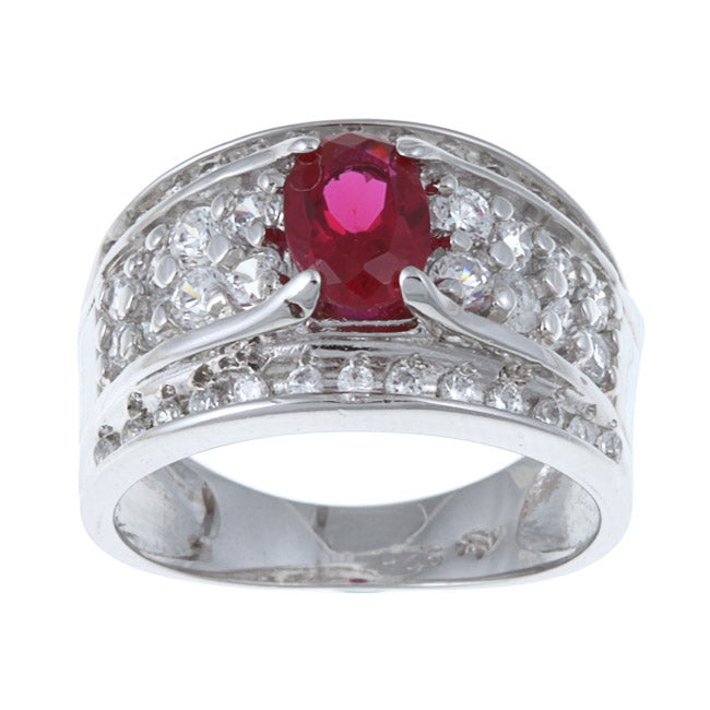 Sterling Essentials Sterling Silver Red-and-white Cubic Zirconia Ring