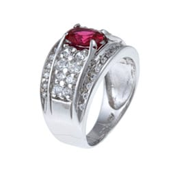 Sterling Essentials Sterling Silver Red-and-white Cubic Zirconia Ring - Thumbnail 1