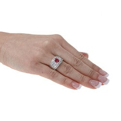 Sterling Essentials Sterling Silver Red-and-white Cubic Zirconia Ring - Thumbnail 2