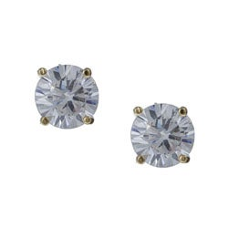14K Gold over Sterling Silver Round Cubic Zirconia Stud Earrings (7 mm)
