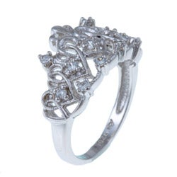 Sterling Essentials Sterling Silver Clear Cubic Zirconia Tiara-style Ring - Thumbnail 1
