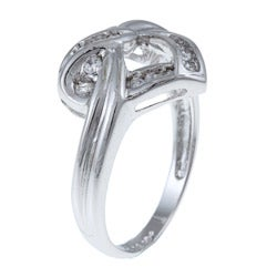 Sterling Silver Cubic Zirconia Heart Knot Ring - Thumbnail 1