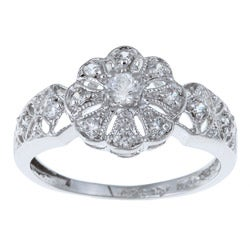 Sterling Silver Round-cut Cubic Zirconia Flower Ring