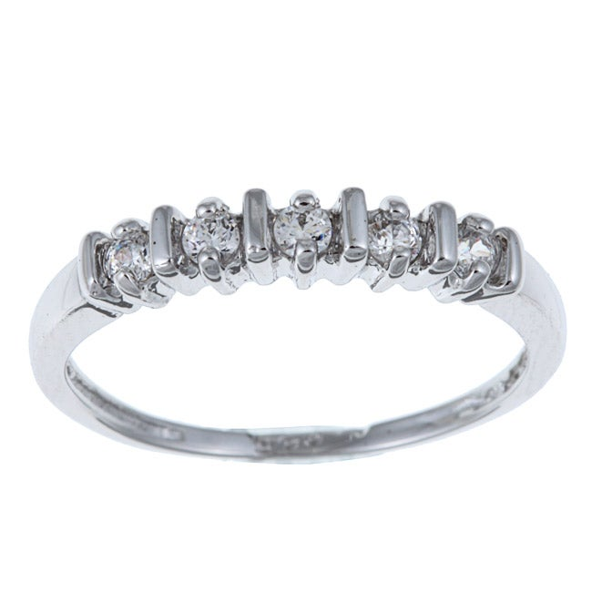 Sterling Essentials Highly Polished Sterling Silver Cubic Zirconia Band Ring