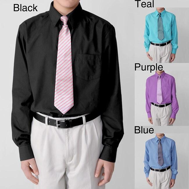 Stylish Gioberti by Boston Traveler Boy's Dress Shirt and Tie Set