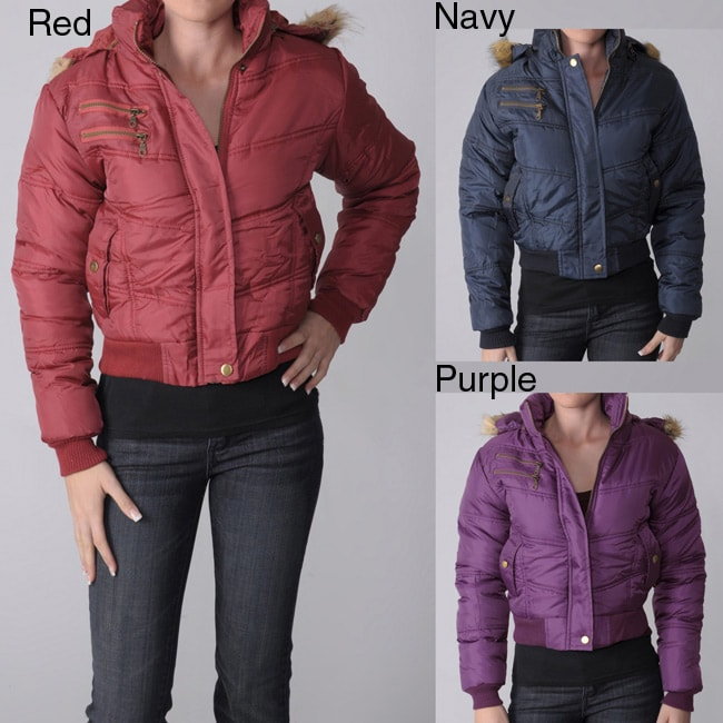 Journee Collection Everyday Juniors Zippered Plush Trim Quilted Jacket