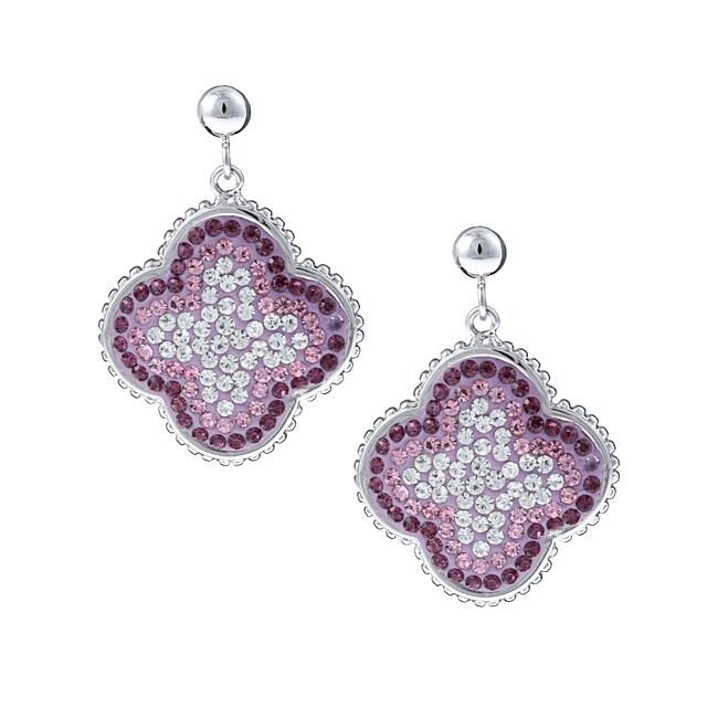 La Preciosa Sterling Silver Multi-colored Crystal Earrings