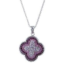 La Preciosa Sterling Silver Multi-colored Crystal Necklace