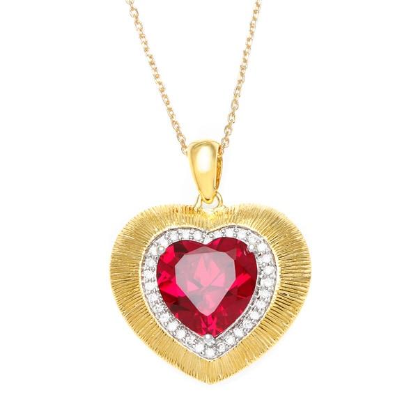 La Preciosa Goldplated Silver Red Cubic Zirconia Heart Necklace