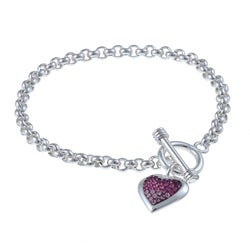 La Preciosa Sterling Silver Crystal Heart Charm Toggle Bracelet