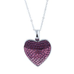 La Preciosa Sterling Silver Multi-colored Crystal Heart Necklace