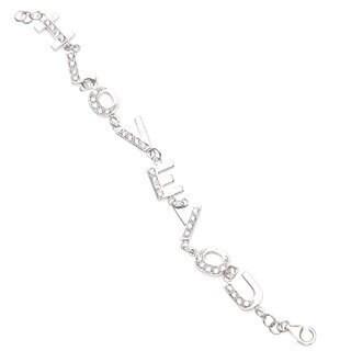 La Preciosa Sterling Silver Cubic Zirconia 'I Love You' Bracelet