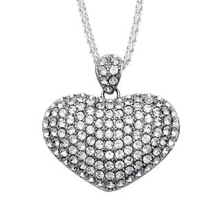 La Preciosa Sterling Silver Crystal Puffed Heart Necklace|https://ak1.ostkcdn.com/images/products/5528552/P13307145.jpg?impolicy=medium