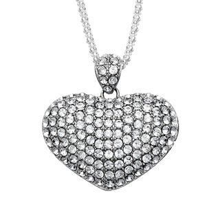 La Preciosa Sterling Silver Crystal Puffed Heart Necklace