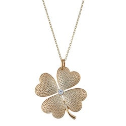 La Preciosa Sterling Silver Cubic Zirconia Four-leaf Clover Necklace