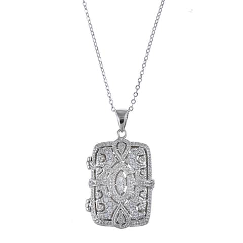 La Preciosa Sterling Silver Cubic Zirconia Rectangle Locket
