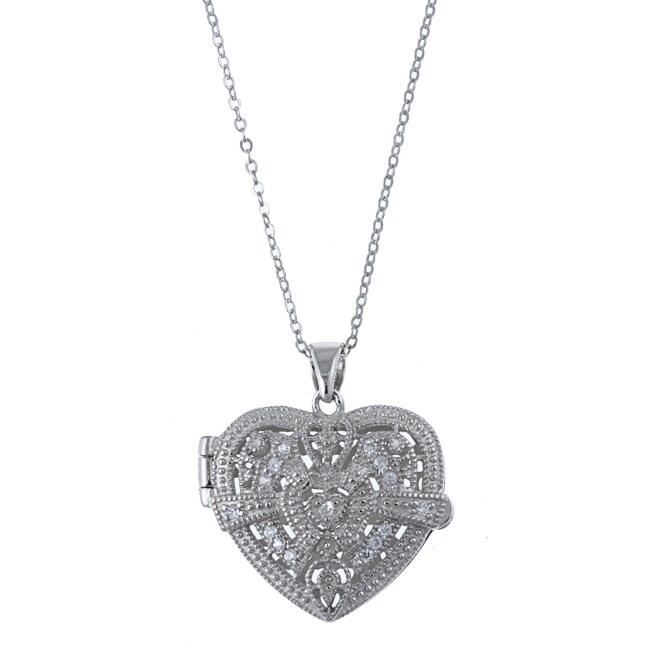 La Preciosa Sterling Silver Cubic Zirconia Heart Locket Necklace
