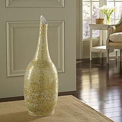 Golden Shimmer Mosaic Floor Vase, Handmade in Indonesia