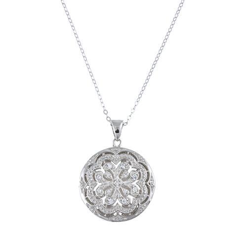 La Preciosa Sterling Silver Cubic Zirconia Circle Locket Necklace