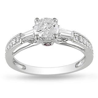 L'Amour Enrose by Miadora 14k Gold 1ct TDW Diamond and Sapphire Engagement Ring (G-H, I2-I3)