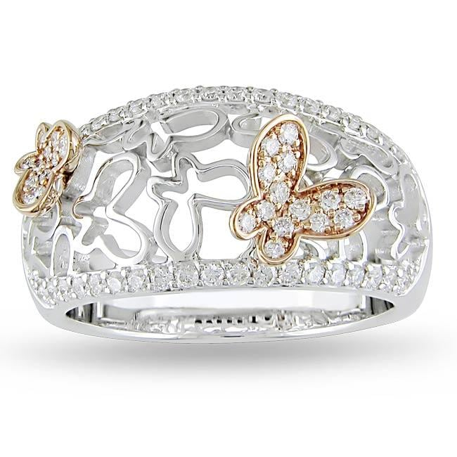 18k Two-tone Gold 2/5ct TDW Diamond Butterfly Ring