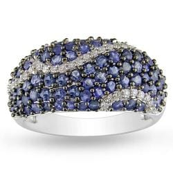 Miadora Sterling Silver Sapphire and 1/6ct TDW Diamond Ring (H-I, I2-I3)