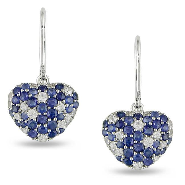 Sterling Silver Blue and White Sapphire Earrings