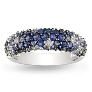 Miadora Sterling Silver Blue-and-white Round-cut Sapphire Ring
