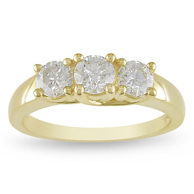 Miadora 14k Yellow Gold 1ct TDW Diamond 3-stone Ring (G-H, I1-I2)