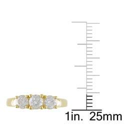 Miadora 14k Yellow Gold 1ct TDW Diamond 3-stone Ring (G-H, I1-I2) - Thumbnail 2