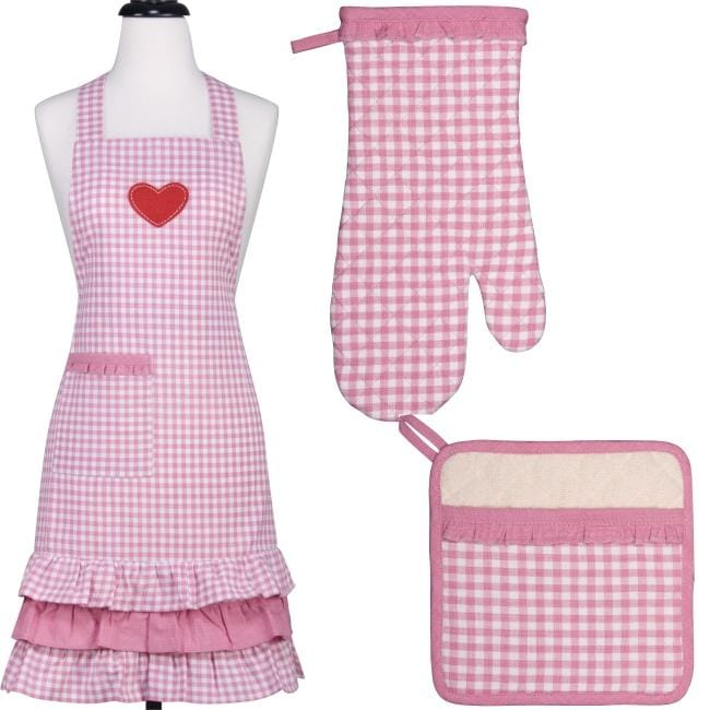 Gingham Ruffle Apron and Mitt Hostess Gift Set