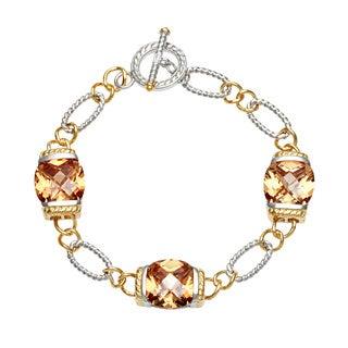 La Preciosa Gold over Silver Champagne Cubic Zirconia Bracelet