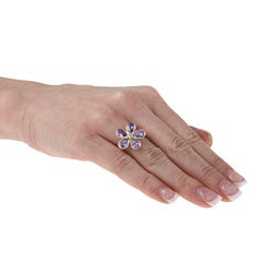 La Preciosa Goldplated Sterling Silver Purple and Clear Cubic Zirconia Flower Ring