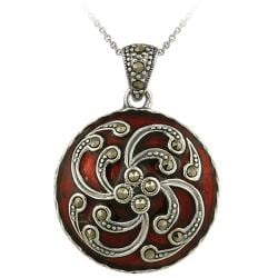 Glitzy Rocks Sterling Silver Red Enamel and Marcasite Circle Necklace