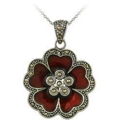 Glitzy Rocks Sterling Silver Red Enamel and Marcasite Flower Necklace