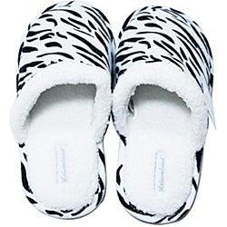 Leisureland Women's Cotton Zebra Slippers - Thumbnail 1