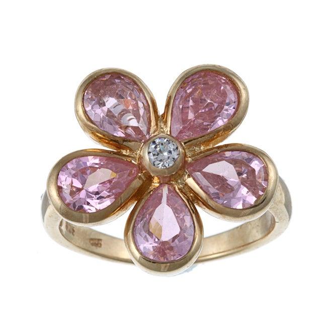 La Preciosa Sterling Silver Pink Cubic Zirconia Flower Ring