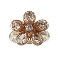 La Preciosa Goldplated Sterling Silver Champagne Cubic Zirconia Flower Ring