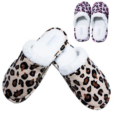 Leisureland Women's Cotton Leopard-print Slippers