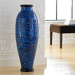 Ocean Blue Mosaic Floor Vase (Indonesia)